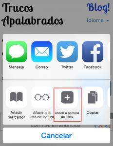 Añadir a pantalla de inicio iPhone/iPad