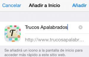 Añadir inicio iPhone/iPad